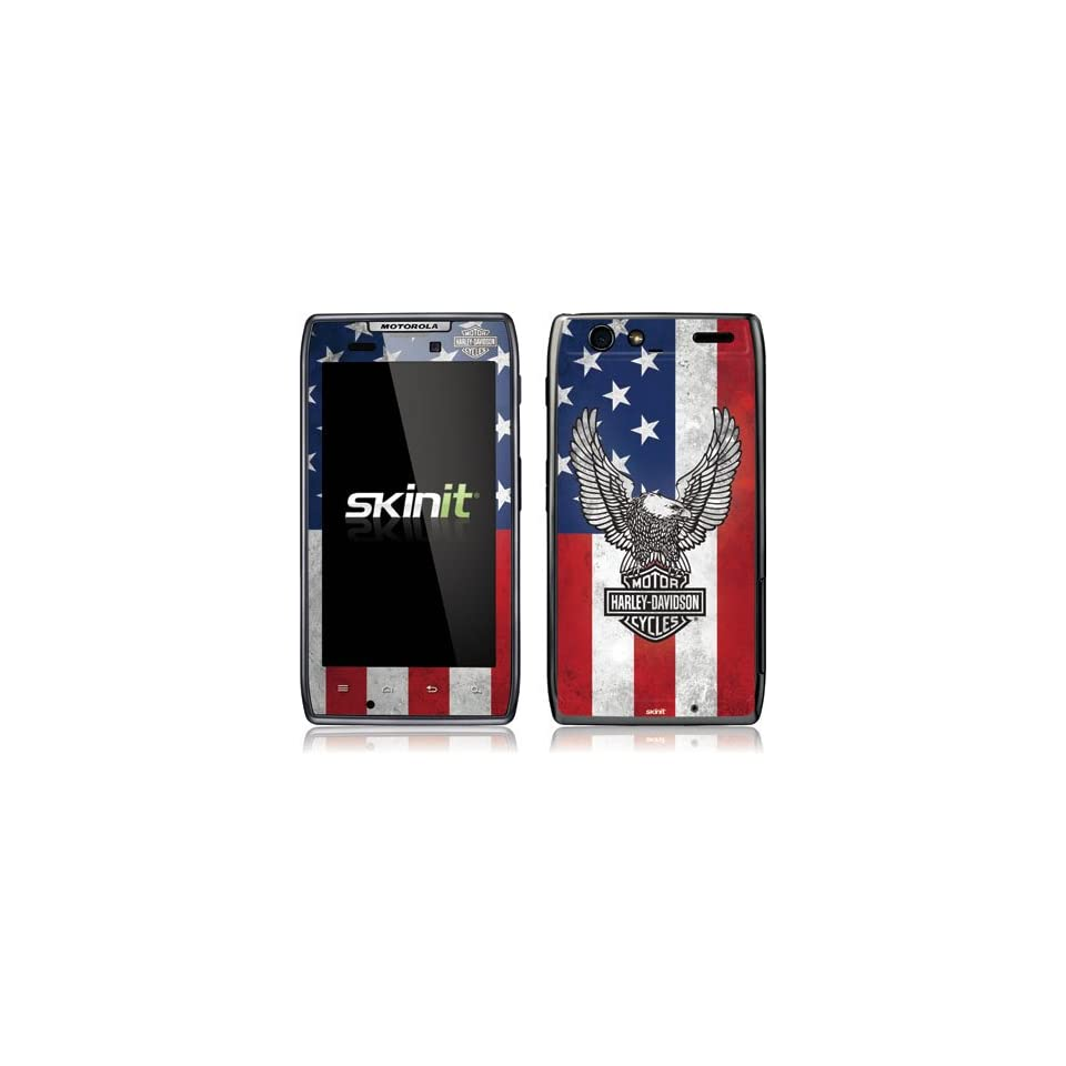 Skinit Harley Davidson Eagle Logo on American Flag Vinyl Skin for Droid Razr Maxx by Motorola