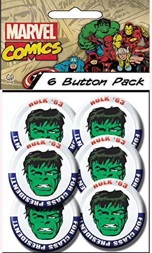 "C&D Visionary Marvel Comics (Retro) Hulk President 1.5"" Button (6-Piece)"