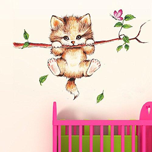 'Little Catty on Branch' Wall Sticker