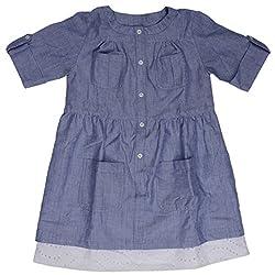 Buttercups Girls' 9 - 10 years Cotton Shirt Dress (CPL07D, Light Blue, 30 inches)