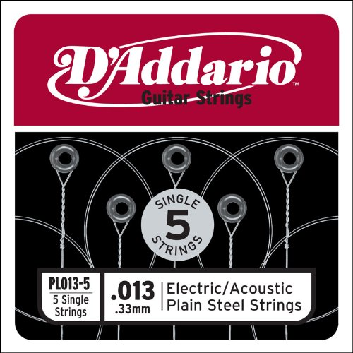 D'Addario PL013-5 Plain Steel Guitar Single String, .013 5-pack (Single Electric Guitar Strings compare prices)