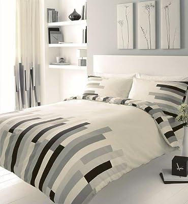 Grey Black & Cream Block Printed Duvet Cover Bed Set