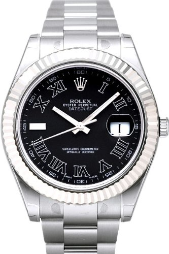 Rolex Datejust II Steel/White Gold Watch, Black Roman Index at 9 o''clock Dial