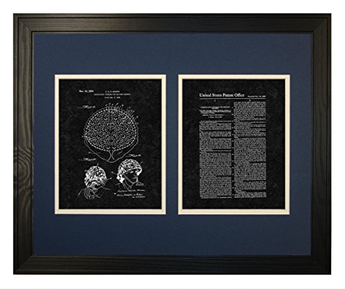 "Camouflaging Covering For Military Helmets Patent Art Black Matte Print in a Solid Pine Wood Frame (16"" x 20"")"