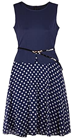 Eyekepper Chiffon Crewneck Sleeveless Polka Dot Hem Dress With Belt (0, Navy)
