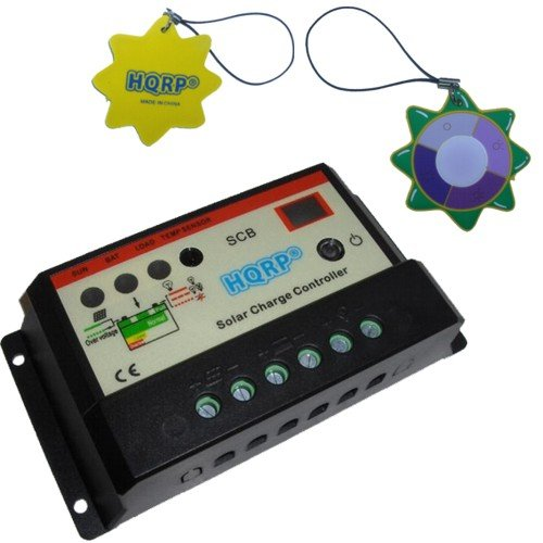 HQRP Solar 10A Charge Power Controller / Regulator 12V / 24V 10 Amp with LED Indicator plus HQRP UV Chain / UV Radiation Health Tester