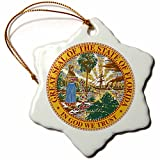 3dRose orn_55396_1 Great Seal of Florida PD-US Snowflake Ornament, Porcelain, 3-Inch