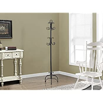 Monarch Specialties I 2027 Antique White Metal Coat Rack, 72""
