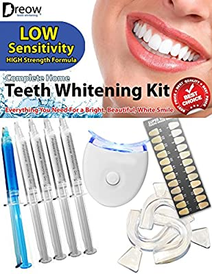 ADVANCED Teeth Whitening Kit Bleaching with 4 XL Carbamide Peroxide Gel Syringes, Remineralizing Gel, Great Gift Idea