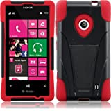 For Nokia Lumia 521 T-Stand Impact Kickstand Hybrid Double Layer Fusion Cover Case Black/Red