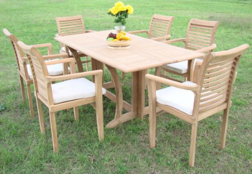 """New 7 Pc Luxurious Grade-A Teak Dining Set - 69"""" Console Table And 6 Stacking Arm Chairs [Model:MS9]"""