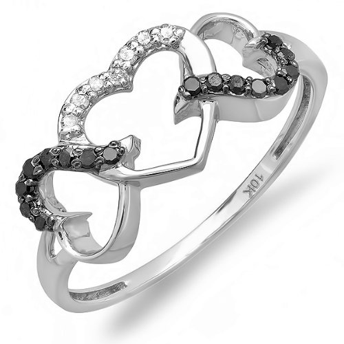 0.15 Carat (ctw) 10k White Gold Round Black and White Diamond Ladies Promise Three Heart Infinity Love Engagement Ring