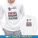 7MILE OCEAN メンズ 長袖 tシャツ ロングTシャツ ロンTee DISEL ENGINE ディーゼル エンジン ピストン パロディー おもしろ 人気 ブランド プリント ロゴ アメカジ ストリート S M L XL XXL 大きい ビッグサイズ対応 秋冬物 M WHITE
