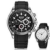 Fashion Watches BOSCK Men's White Round Case Calendar 30M Water Resistant Silicone Band Sports Watch Gift (with Package) (Color : Red) (Color: Red)