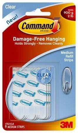 Command Medium Refill Strips - 9 Clear Strips With Double Sided Foam Tape