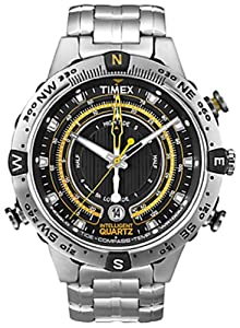 Timex Intelligent Quartz Compass Black Dial Stainless Steel Bracelet Watch T2N738