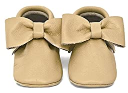 Baby Moccasins, The Coral Pear Bow Moccasin, Genuine Leather Shoes for Babies & Toddlers, Tan, Size 5M (Babies & Toddlers)