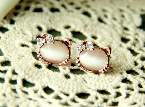 HGL very Lovely ♪ Cute Kitten white remember earring K18 gold plated 2 set HGL-10079
