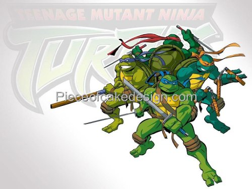 1/4 Sheet ~ TMNT Group Action Birthday ~ Edible Image Cake/Cupcake Topper!!!