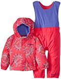 Columbia Unisex-Baby Infant Fresh Pow Bib and Jacket Set, Bright Rose Dots, 12-18 Months