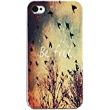 EVERMARKET(TM) Be Free Birds Cute Quote Retro Vintage White Sides Slim Hard Case Cover for Apple iPhone 4 4S