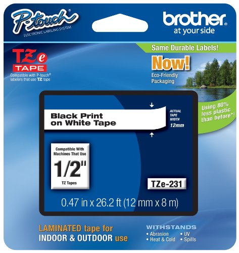 Brother Tape, Laminated Black on White, 12mm (TZe231)