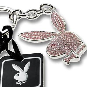 Playboy-Schlüsselanhänger Hasenkopf mit rosa Perlen, von International Connection