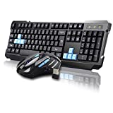 UniFire®High Quality V60 Waterproof 2.4G Wireless Gaming Keyboard with Mouse DPI Control For DESKTOP PC Laptop Wireless Keyboard Mouse Combos (black)