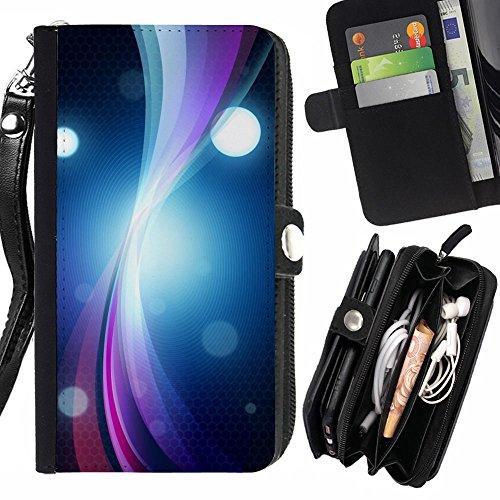 RenCase / PELLE FLIP CUSTODIA CASE PROTEZIONE COVER per Samsung Galaxy C7 - Anello Vibrant Circle Line Bright Black Art