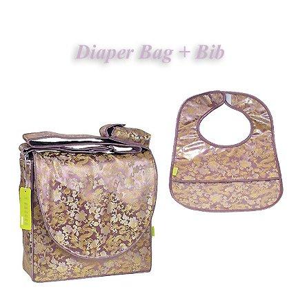 I Frogee Brocade Diaper Bag & Bib Set In Purple Dragon Print