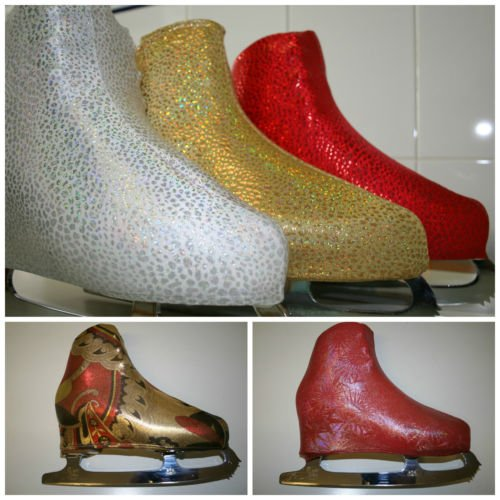 Fluffysnowdrop Metalic Skating Boot Covers, Artistic Roller Ice Skating, Fundas De Patines. Colour: Red Star