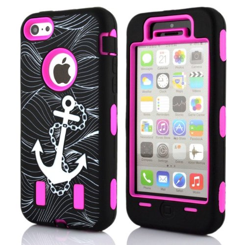 rejected-all-traditionsr-iphone-5c-hybrid-case-for-girls-hot-pink-anchor-pattern-hybrid-protective-h