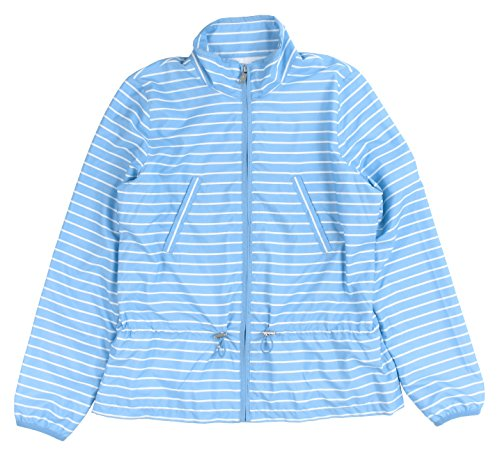 Lauren Active Women's Striped Mockneck Peplum Jacket Small Chatham Blue/White