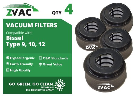4 Bissell Style 9/10/12 Powerforce Inner And Outer Circular Filter Set 32064 By Zvac