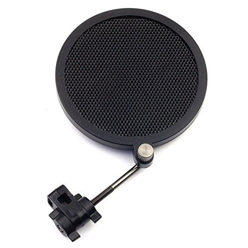 Very100 Black Mini Microphone Anti-Pop Shield Filter Screen Single Flex Mic Pop Filter