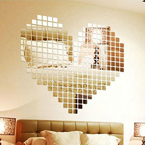 {Factory Direct Sale} New 100pcs 2x2cm Silver Acrylic 3D Mural Wall Sticker Mosaic Mirror Effect Sofa Room Home Decor DIY