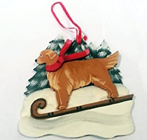 Golden Retriever Dog Wooden Handpainted 3-dimensional Christmas Ornament - USA Made, Exclusive Pattern