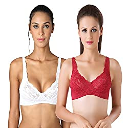Bodyline Full Coverage Lacy White and Maroon Bra
