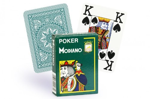 Modiano 100% Plastic Playing Cards Cristallo 4 PIP JUMBO INDEX (Dark Green) - 1