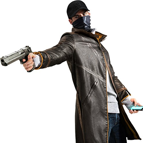 FireLionPlus Men Leather Jacket for Watch Dogs Aiden Pearce Cosplay Jacket Coat