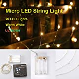 Micro LED 20 Warm White Lights with Timer, Battery Operated on 7ft Long Silver Color Ultra Thin String Wire
