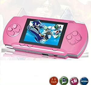"""WolVol PINK 2.8"""" LCD Portable Game Console With AV-Out And TONS of Built-In Games, Game Disk Included - Best Gift for Kids"""
