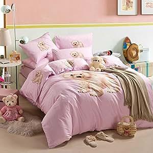 little bear pink bedding duvet cover set cartoon bedding kids bedding girls bedding teen bedding. Black Bedroom Furniture Sets. Home Design Ideas