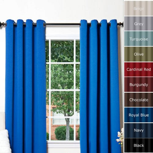 """Royal Blue Grommet Top Thermal Insulated Blackout Curtain 63"""" Length 1 Pair - GT"""