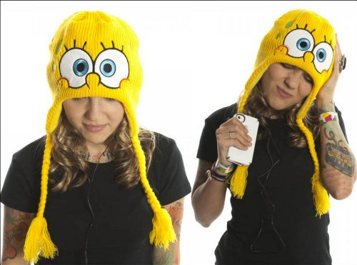 Spongebob Squarepants Nickelodeon Yellow Headphones Beanie One Size