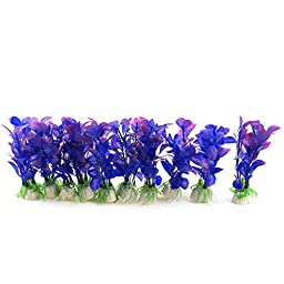 10Pcs Fuchsia Blue Artificial Plastic Water Plant Grass For Fish Tank