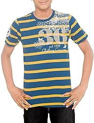 Menthol Boys Yarn Dyed Stirpe Round Neck Tshirt (9-10 Years, Airforce Mustard)