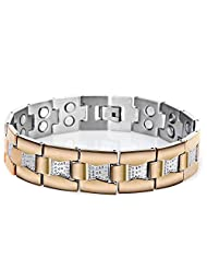 BE STEEL Jewellery Magnetic Stainless Steel Bracelets For Men Bangles Length 22.5cm