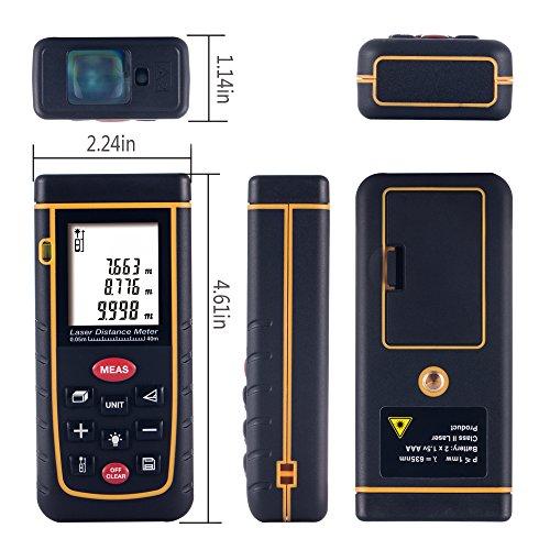 GRDE® Portátil Telémetro Láser Alcance de Medida (de 0.5 a 40 - 100) Metros Medidor de Distancias Digital (Gris 40M)