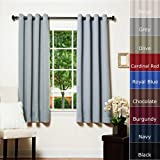 """Best Home Fashion Grey Grommet Top Thermal Insulated Blackout Curtain 52""""W x 63""""L 1 Pair - GT"""